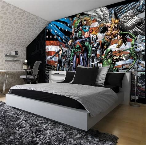 justice league bedroom justice legaue cartoon kids bedroom wall murals by