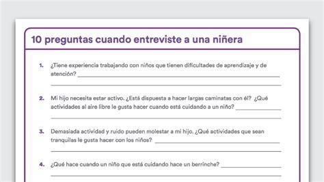 preguntas entrevista guarderia 10 preguntas al entrevistar a una ni 241 era