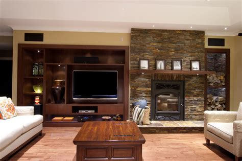 feature wall modern family room montreal