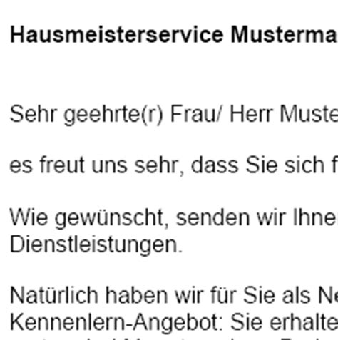 Muster Angebot Hausmeisterservice werbebrief hausmeisterservice facility management