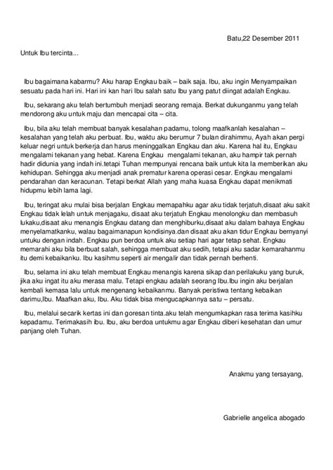 Contoh Surat Untuk Ibu by Surat Untuk Ibu Juara 3 Tingkat Nasional