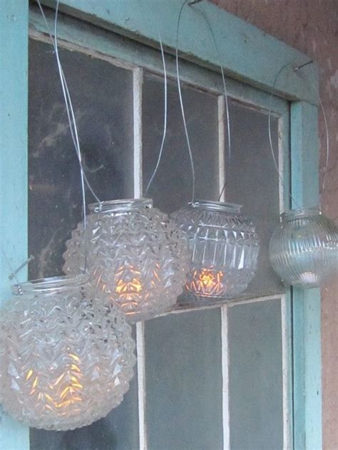 Wedding hanging lanterns Thrift store makeover old lights