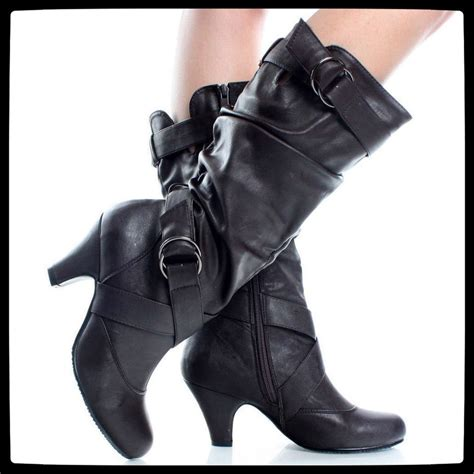new womens mid calf faux leather black high heel
