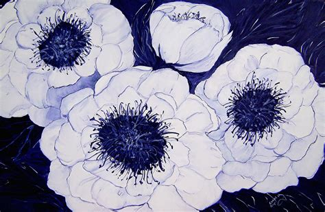 blue and white painting big blue and white dahlia flowers by carol nelissen