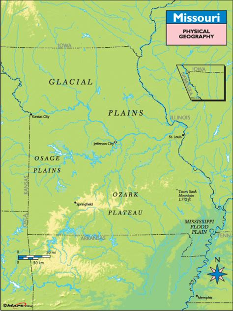 physical map of missouri missouri physical geography map by maps from maps