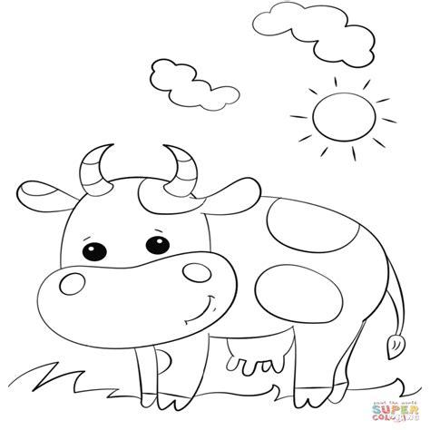 Dibujo De Vaca Linda De Dibujos Animados Para Colorear