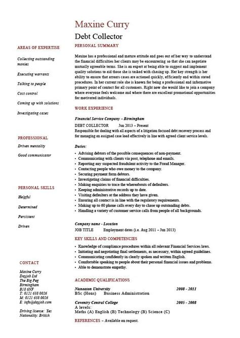 debt collector resume loans description exle