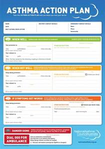 Asthma Care Plan Template by Asthma Plan Library National Asthma Council Australia