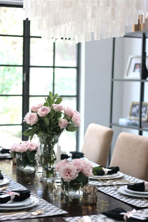 black and white dinner table setting dinner table black white pink gold erika
