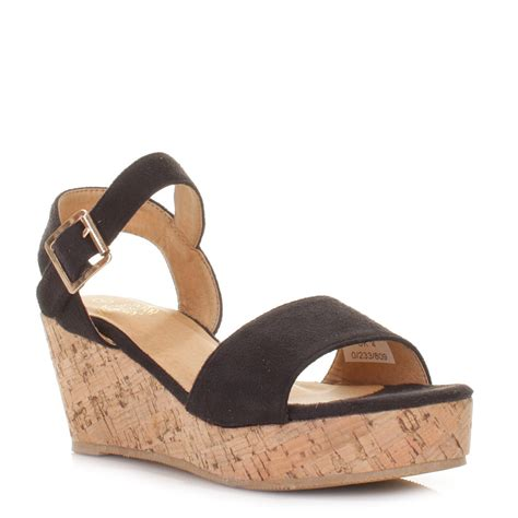 wedges sandals cheap womens black flatform cork wedge heel ankle sandals