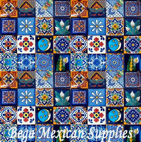 Handmade Mexican Tiles - items similar to 100 pcs mexican tile handmade talavera