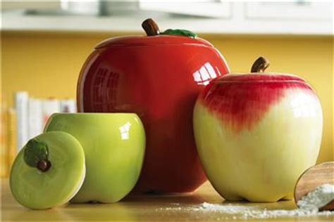 Apple Kitchen Canisters | 3 pc country apple shaped kitchen canister set new ebay