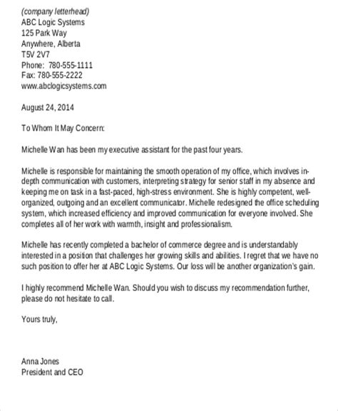 Letter Of Recommendation Generic For Student sle generic letter of recommendation 7 exles in