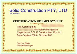 certificate of employment sample with job description