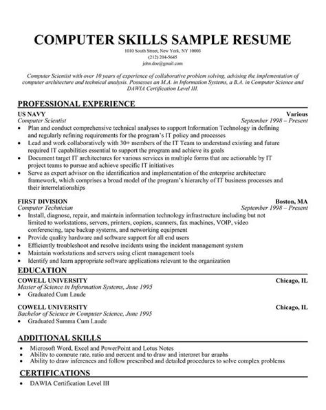 Resume Exles It Skills Doc 792800 Resume Skills And Abilities List Bizdoska