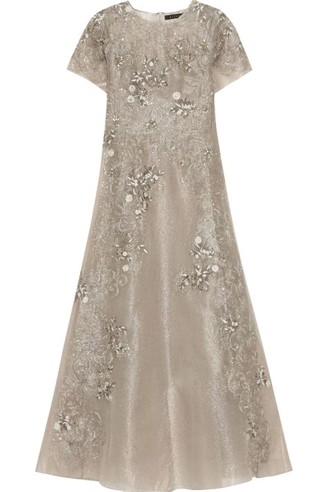 Biyan Sandals lyst biyan gita embellished metallic tulle maxi dress