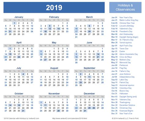 printable calendar for 2019 5 best images of 2019 yearly calendar printable free