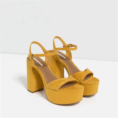 yellow high heel sandals zara high heel platform sandals in yellow lyst