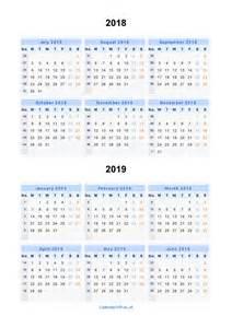 Calendar 2018 View Split Year Calendars 2018 2019 Calendar From July 2018