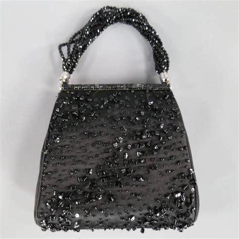 Judith Leiber Top 10 Evening Bags by Vintage Judith Leiber Black Beaded Satin Evening Handbag