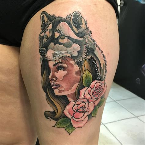 girl roses tattoos wolf with roses the best wolf 2018