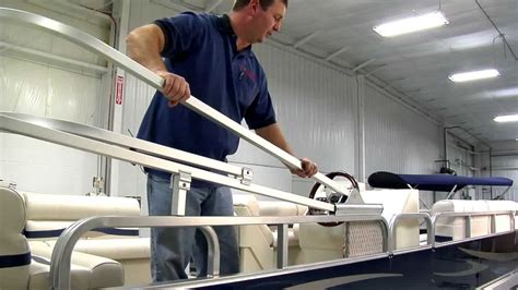boat bimini top installation pwr arm ii boat bimini top installation by schwintek youtube