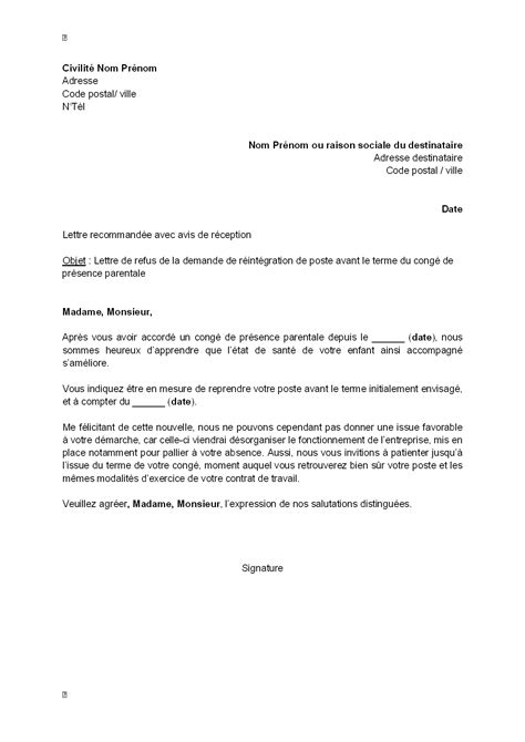 Exemple De Lettre Congé Parental Letter Of Application Modele De Lettre Pour Reprise De Travail Apres Un Conge Parental