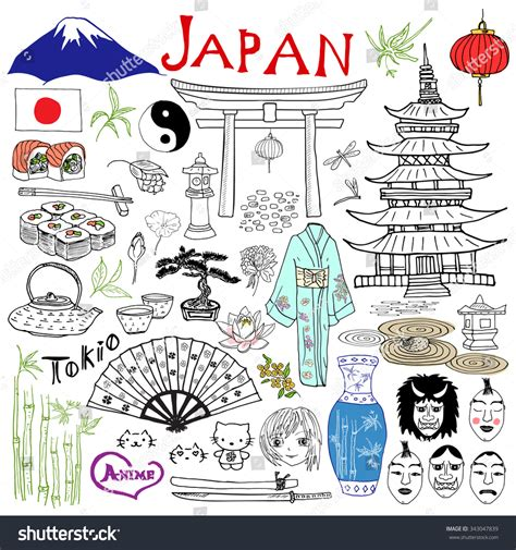 Japan Doodles Elements Set Stock Vector