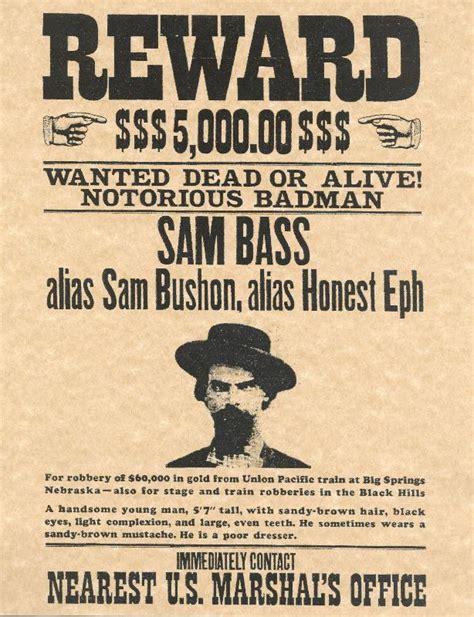 reward posters template sam bass west reward poster