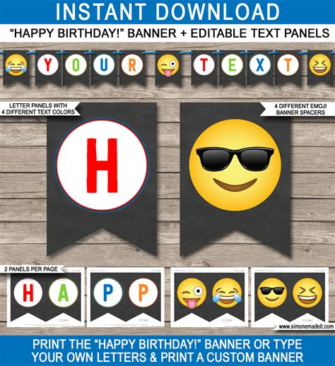 printable birthday banner with name emoji printable banner template for boys happy birthday