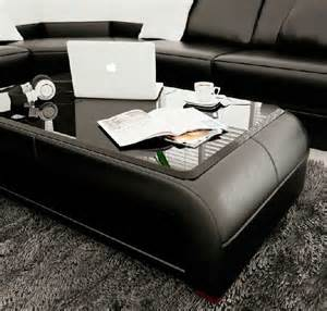 Modern Leather Coffee Table Modern Black Bonded Leather Coffee Table With Glass Top