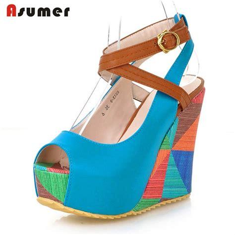 Sale Sandal Wedges P11 asumer 2017 wedges shoes sandals buckle open toed platform shoes summer fashion popular