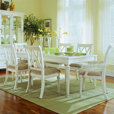 Coastal Dining Room Furniture American Drew Camden Rectangular Casual Dining Set In Antique Camden White Finis Traditional