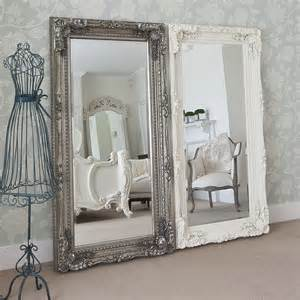 shabby chic floor standing mirror length mirrors grand silver decorative mirror