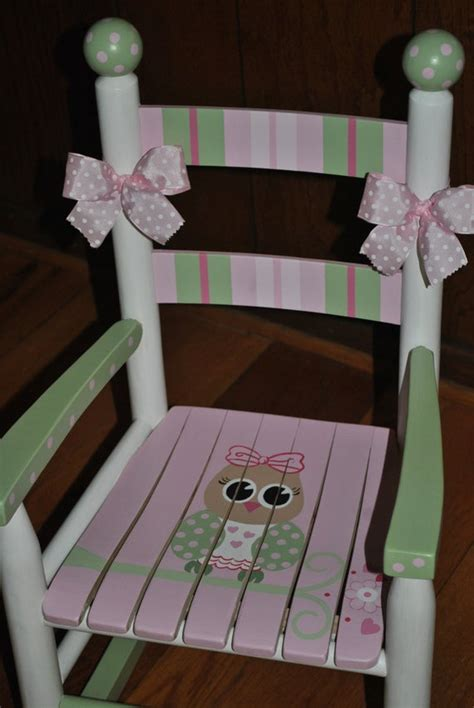items similar  childrens custom hand painted girls pink owl rocking chair baby shower gift