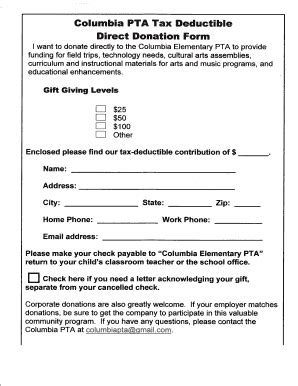 pta donation receipt template donation form for taxes templates fillable printable