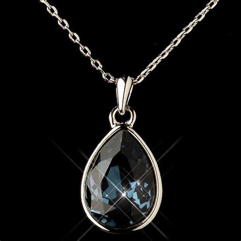 silver navy swarovski element teardrop pendant