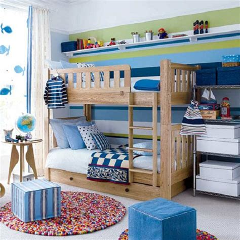 blue and green boys bedroom toddler room ideas blue poufs wooden bunk bed dolphin