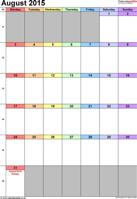 Calendar August 2015 Uk Bank Holidays Excel Pdf Word Templates Orientation Calendar Template