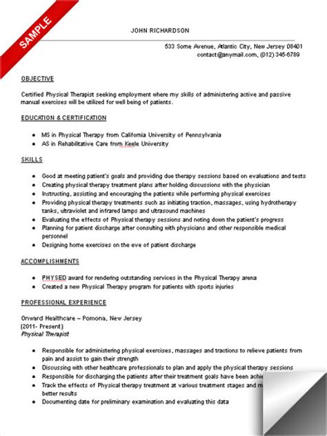 Therapy Resume Objectives by Physical Therapist Resume Sle