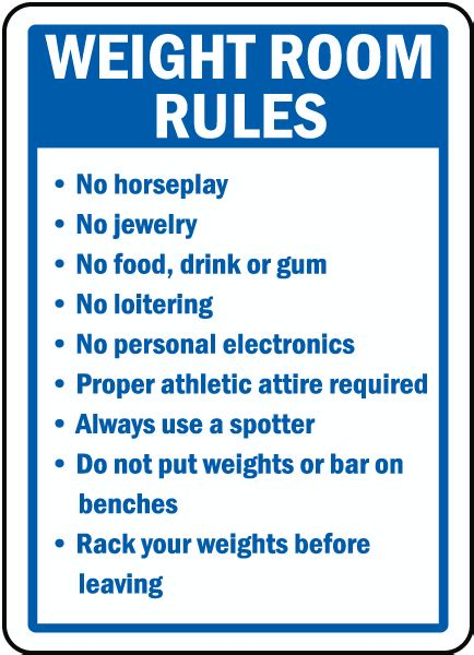 safety in the weight room weight room sign by safetysign f7761
