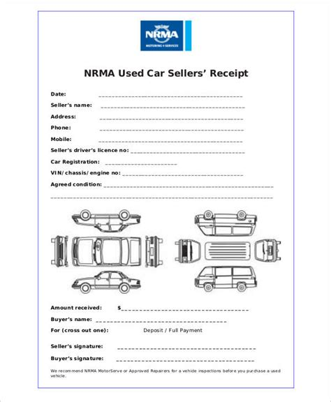 printable vehicle receipt car payment receipts 9 exles in word pdf