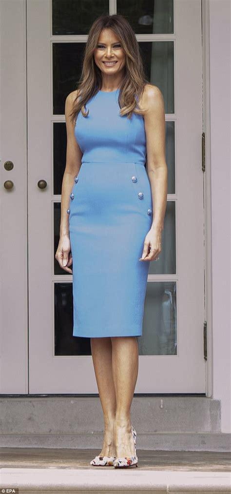 Dress Model Style Pink Blue Brown Impor melania wears blue dress to meet panama s president