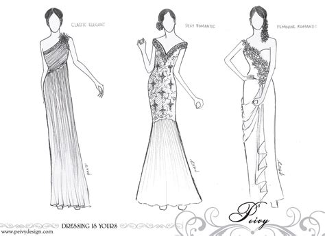 desain dress sketsa design sketch dress keluarga pengantin peivy design