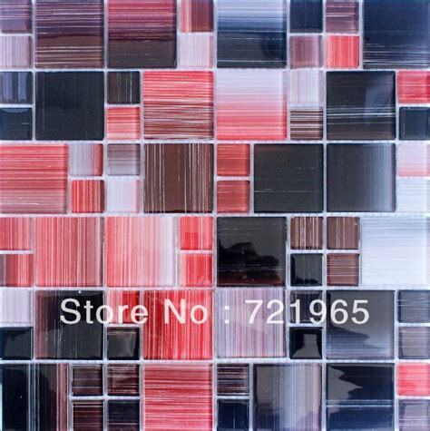Red Kitchen Backsplash Tiles by Red Glass Mosaic Tile Kitchen Backsplash Cgmt170 Black