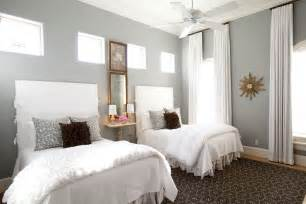 grey walls bedroom twin slipcovered headboards transitional bedroom