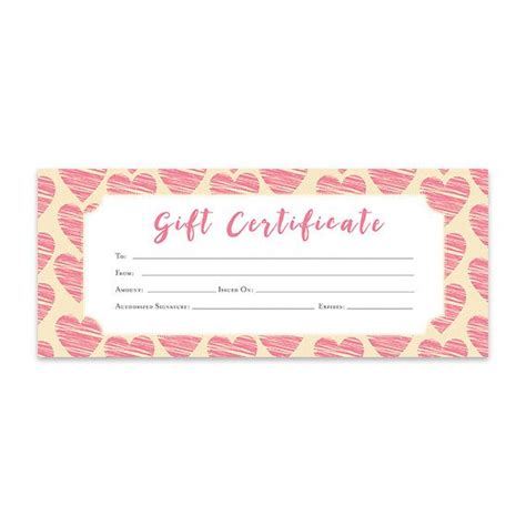 blank gift card template hearts pink hearts gift certificate