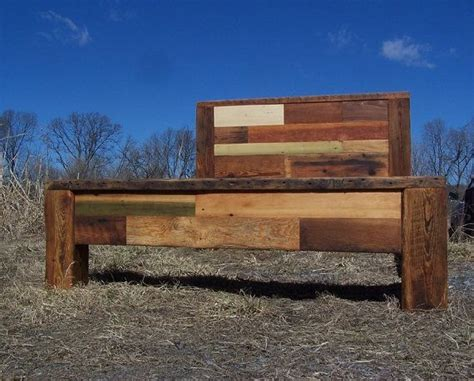 Custom Wood Bed Frames Buy A Custom Colorful Patchwork Quilt Reclaimed Wood Bed Frame Made To Order From The Strong
