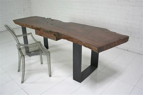 industrial modern desk www roomservicestore industrial modern walnut slab desk