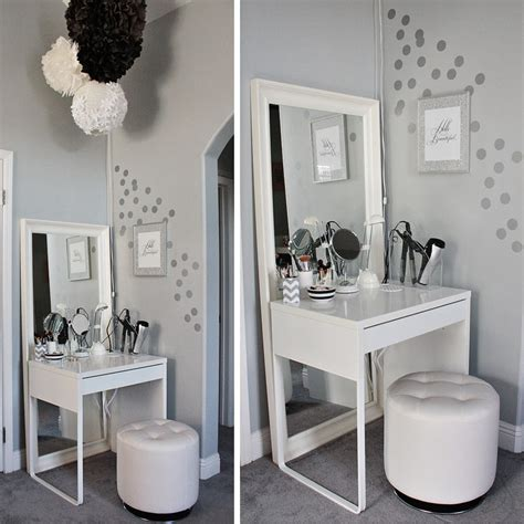 beauty blogger vanity table suggestions white minimalist makeup vanity table design ikea with square mirror and unique rounded chair
